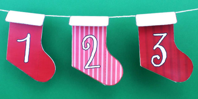 Christmas Advent Calendar Stocking Bunting Numbers - australia