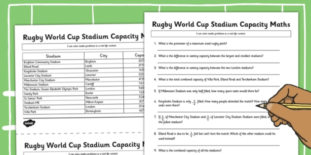 Rugby World Cup Stadium Maths Capacity Activity - rugby, world cup