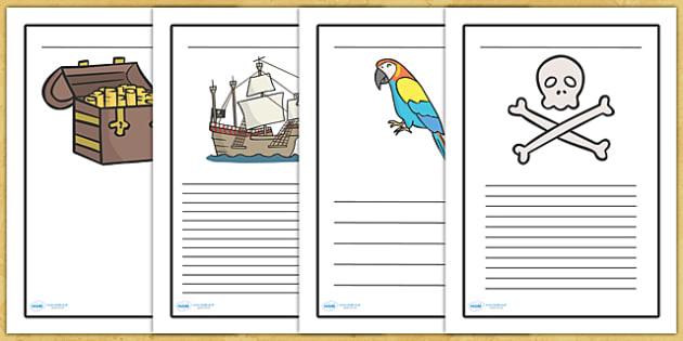Pirate Writing Frames - writing frame, frame, writing, writing aid, pirate, pirates, pirate writing frames, pirate themed writing frames, trasure, parrot, writing template, template, literacy