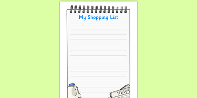 Newsagents Role Play Shopping List