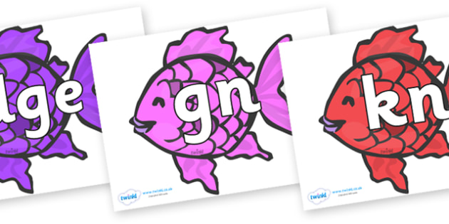 Silent Letters on Fish (Multicolour) to Support Teaching on The Rainbow Fish - Silent Letters, silent letter, letter blend, consonant, consonants, digraph, trigraph, A-Z letters, literacy, alphabet, letters, alternative sounds