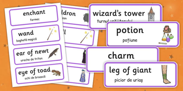 Magic Word Cards Romanian Translation - romanian, halloween, hallowe'en, magic, word cards, word, cards