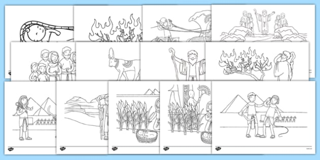 Moses Story Coloring Sheets - usa, america, Moses, Egypt, Hebrews, slaves, Pharaoh, basket, God, colouring, fine motor skills, poster, worksheet, vines, A4, display, palace, shepherd, burning bush, plague, Promised Land, law, stone, ten commandments,