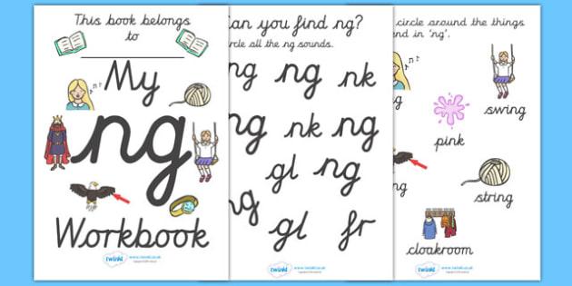 My 'ng' Letter Blend Workbook (Cursive) - workbook, ng, letters, blend, alphabet, activity, handwriting, blends, letter, letter blends