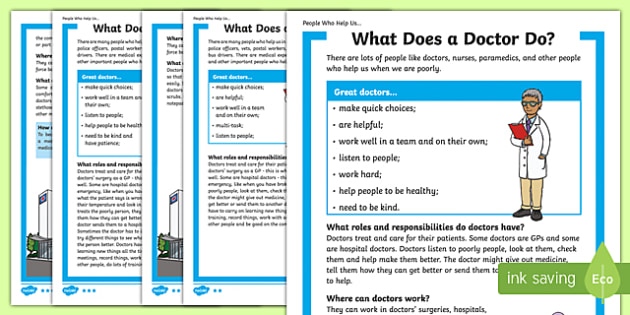 What Does a Doctor Do? Differentiated Fact File