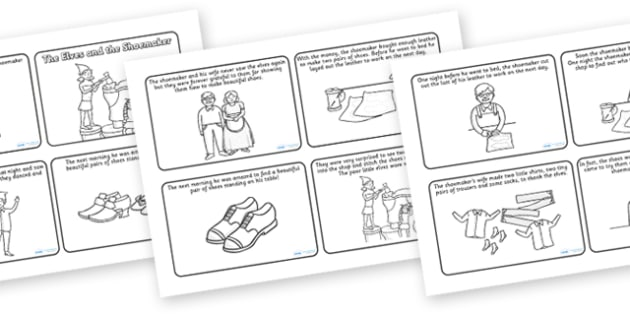 The Elves and the Shoemaker Story Sequencing (4 per A4) - Traditional tale, tales, elves, elf, shoemaker, sequencing, story sequencing, story resources, A4, cards, wife, stitch, leather, danced, shirt, needle, thread, socks, trousers, shoes, workshop