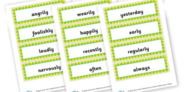 Mixed Adverbs Cards - KS2 Verbs and Adverbs Primary Resources, Verbs, Adverbs, KS2 Words