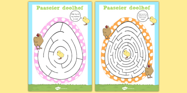 Afrikaans Easter Egg Shaped Maze Activity Sheet Pack - afrikaans, easter, egg, maze, worksheet