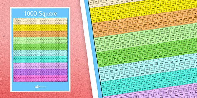 1000 Number Square - numbers, number, squares, numeracy, maths, visual