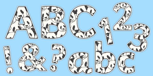Panda Display Lettering and Numbers Pack - panda, display lettering, display numbers, display, letter, number, pack