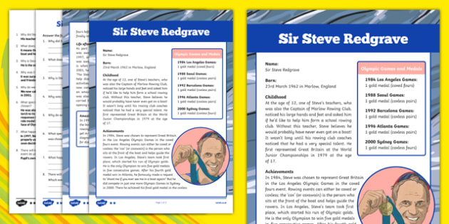 Great British Olympians: Sir Steve Redgrave Differentiated Comprehension Activity