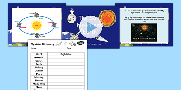 Sun Moon and Earth Overview Powerpoint Task Setter - the sun moon and earth, sun moon and earth powerpoint, solar system powerpoint, space powerpoint, ks2