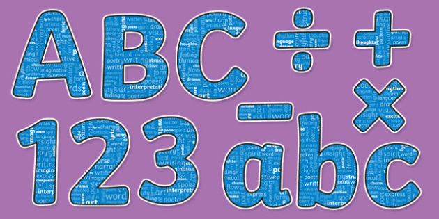 Poetry Themed Display Letters and Numbers Pack - English Lettering, Literacy Lettering, Literacy display lettering, poetry