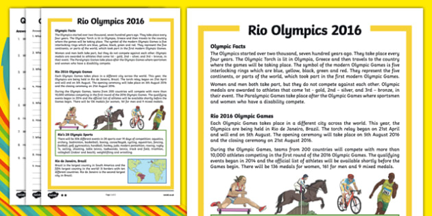 KS1 Rio Olympics 2016 Differentiated Reading Comprehension Activity