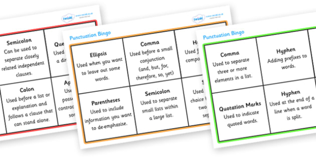 Punctuation Bingo - punctuation bingo, punctuation, punctuation marks, bingo, game, fun, activity, grammar, learning, practicing