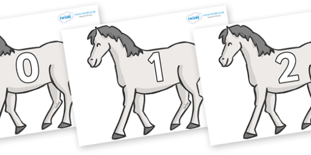 Numbers 0-31 on Horses - 0-31, foundation stage numeracy, Number recognition, Number flashcards, counting, number frieze, Display numbers, number posters