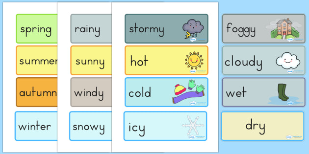 Weather and Seasons Day Calendar - weather, seasons, calender