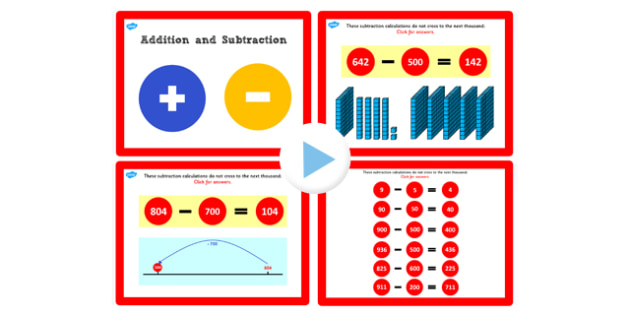 Y3 Addition Subtract Lesson 2e Subtracting 100s Not Crossing 1000