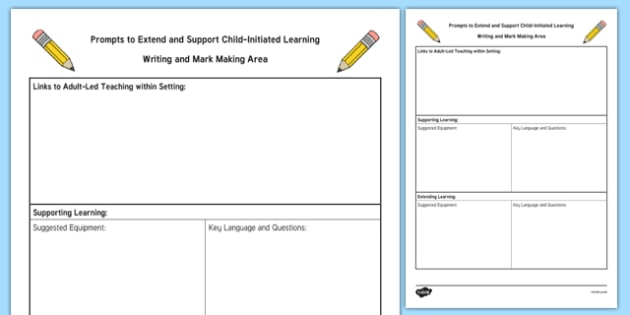 Writing and Mark Making Area Adult Support Prompt Sheet Template - Literacy, English, fine motor, foundation, reception, early years, continuous provision