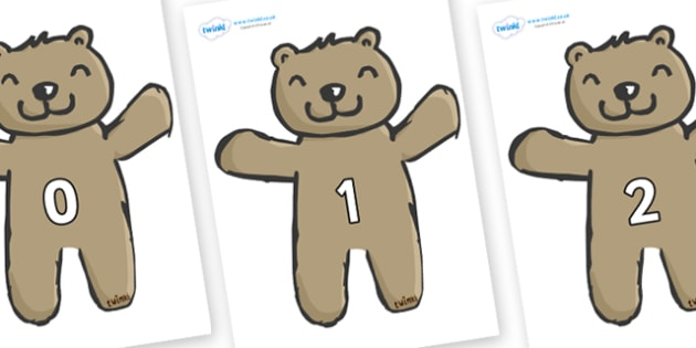 Numbers 0-31 on Teddy Bears - 0-31, foundation stage numeracy, Number recognition, Number flashcards, counting, number frieze, Display numbers, number posters