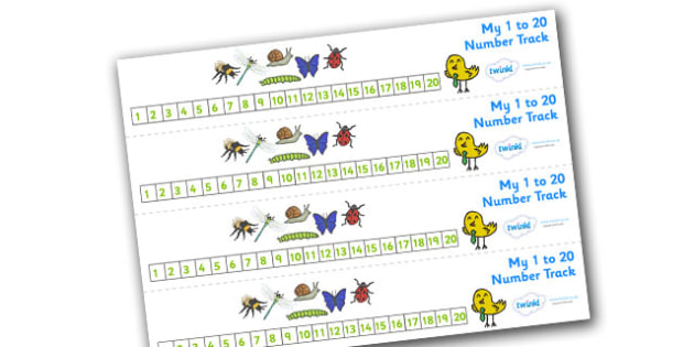 Minibeasts Number Track 0-20 (Detailed Version) - Maths, Math, number track,minibeast, minibeasts, numbertrack, Counting, Numberline, Number line, Counting on, Counting back