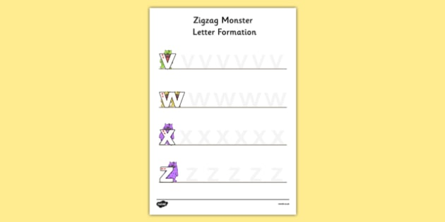 Zigzag Monster Letter Formation Activity Sheet - zigzag monster, letter formation, worksheet