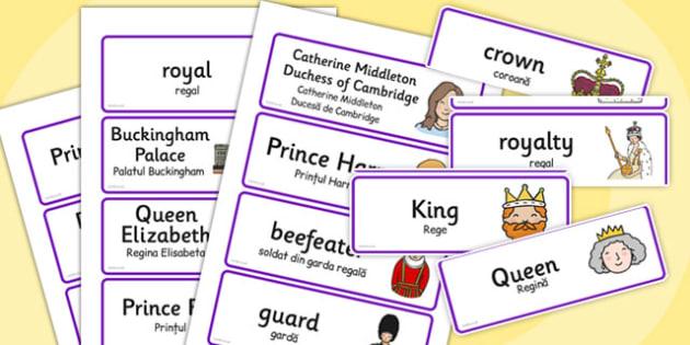 Royal Family Topic Cards Romanian Translation - romanian, royal family