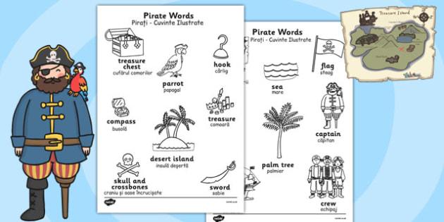 Pirate Words Colouring Sheets Romanian Translation - romanian