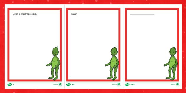 The Christmas Imp Letter Writing Frames - The Christmas Imp, the grinch, grinch, who stole christmas, christmas, green, imp, writing frames, l