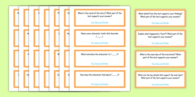 Common Core Third Grade Reading Literature Question Stem Cards USA - American, comprehension, prompts, story, non-fiction, English