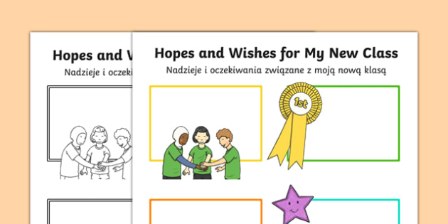 Hopes and Wishes for My New Class Primary SEN Activity Sheet Polish Translation - polish, Transition Handover Sheets, new year, new class, transition, moving class, change, sen, worksheet