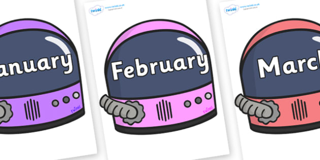 Months of the Year on Astronaut Helmets - Months of the Year, Months poster, Months display, display, poster, frieze, Months, month, January, February, March, April, May, June, July, August, September