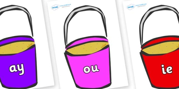 Phase 5 Phonemes on Buckets - Phonemes, phoneme, Phase 5, Phase five, Foundation, Literacy, Letters and Sounds, DfES, display