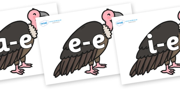Modifying E Letters on Vultures - Modifying E, letters, modify, Phase 5, Phase five, alternative spellings for phonemes, DfES letters and Sounds