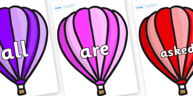 Tricky Words on Hot Air Balloons (Stripes) - Tricky words, DfES Letters and Sounds, Letters and sounds, display, words