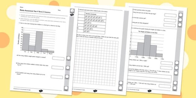 Year 4 Maths Assessment: Statistics Term 2 - year 4, maths, assessment