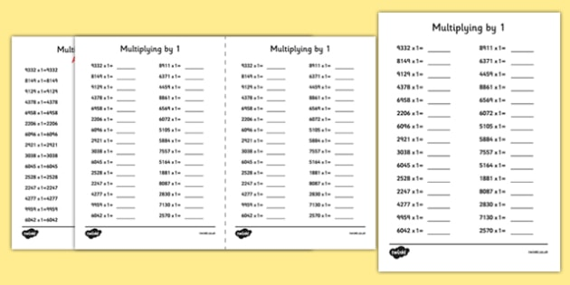 Multiplying 4 Digit Numbers by 1 A5 Activity Sheet - multiplying, 4 digit, numbers, by 1, activity, sheet, worksheet
