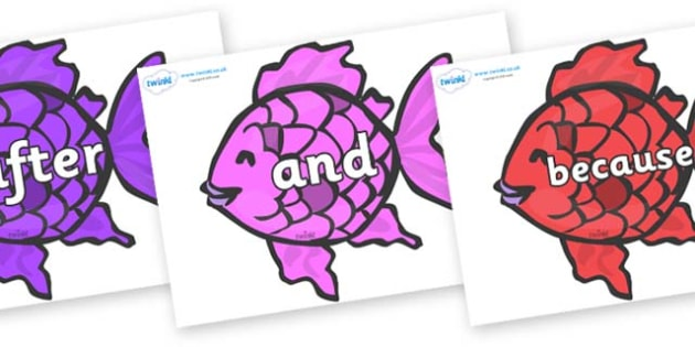 Connectives on Fish to Support Teaching on The Rainbow Fish - Connectives, VCOP, connective resources, connectives display words, connective displays