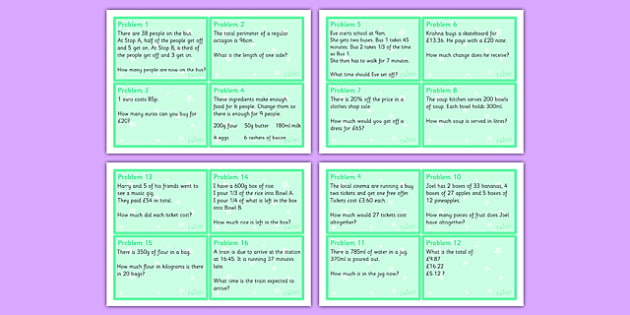 Maths Problem Cards Year 5 - maths, problem, cards, maths problem, numeracy, year 5, ks2