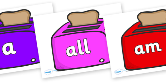 Foundation Stage 2 Keywords on Toasters - FS2, CLL, keywords, Communication language and literacy,  Display, Key words, high frequency words, foundation stage literacy, DfES Letters and Sounds, Letters and Sounds, spelling