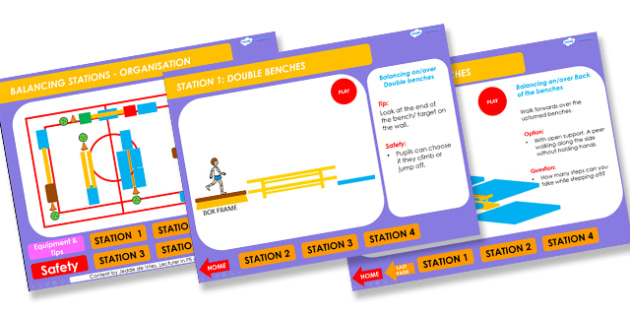 PE Balancing Stations 4 5 6 Years Lesson Ideas PowerPoint - balancing, lesson ideas, lesson plans, powerpoint, lesson plan powerpoint, ideas powerpoint