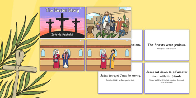 Easter Story Matching Sequencing Cards Colour Romanian Translation - romanian, Easter Topic, Easter, Happy Easter, easter story, resurrection, Christ, Jesus, sequencing cards, story sequencing, A4, cards, Foundation, KS1, Easter, Easter resource, Eas