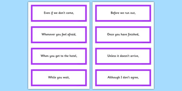 Fronted Subordinate Clause Flash Cards - flash cards, subordinate