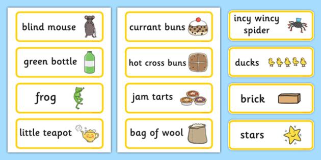Nursery Rhyme Shop Role Play Labels - nursery rhyme shop, role-play, labels