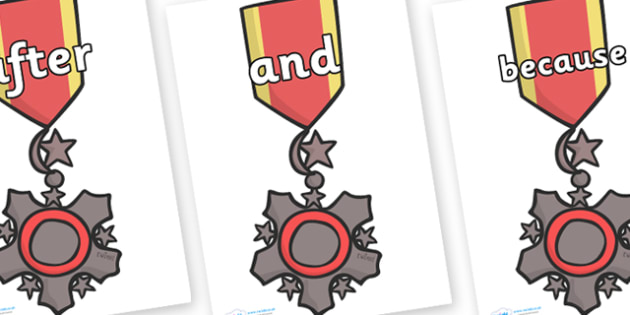 Connectives on Medal - Connectives, VCOP, connective resources, connectives display words, connective displays