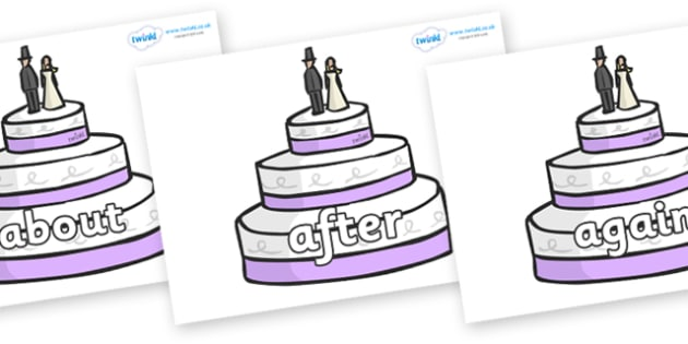 KS1 Keywords on Wedding Cakes - KS1, CLL, Communication language and literacy, Display, Key words, high frequency words, foundation stage literacy, DfES Letters and Sounds, Letters and Sounds, spelling
