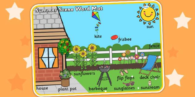 Summer Scene Word Mat - seasons, weather, keywords, visual aid