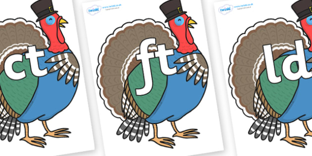 Final Letter Blends on Turkey Lurky - Final Letters, final letter, letter blend, letter blends, consonant, consonants, digraph, trigraph, literacy, alphabet, letters, foundation stage literacy