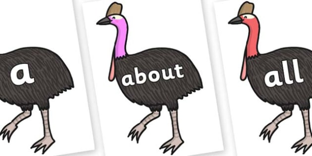 100 High Frequency Words on Cassowary - High frequency words, hfw, DfES Letters and Sounds, Letters and Sounds, display words