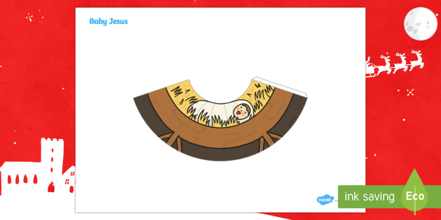 Baby Jesus Nativity Cone Character - 3D paper craft, cone, cone character, Nativity, Christmas, Advent, manger, Baby Jesus
